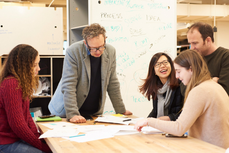 Gloria Meija, BFA Fashion Design '18; Tom Dixon; Eva Foo, MFA Industrial Design '18; James Futcher and Miranda Garrido, MFA Industrial Design '18 work together during a recent four-day workshop at The New School's Parsons School of Design.