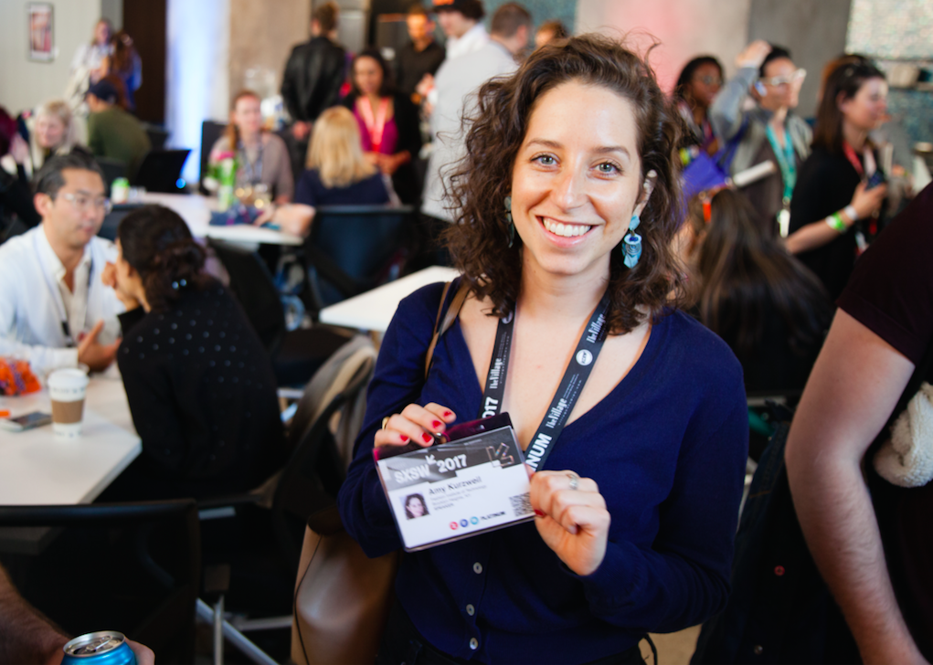 Amy Kurzweil, MFA Fiction '13, at Networking For Social Good: Happy Hour Hosted by The New School at #SXSW. (Photo/Ryan Blum)
