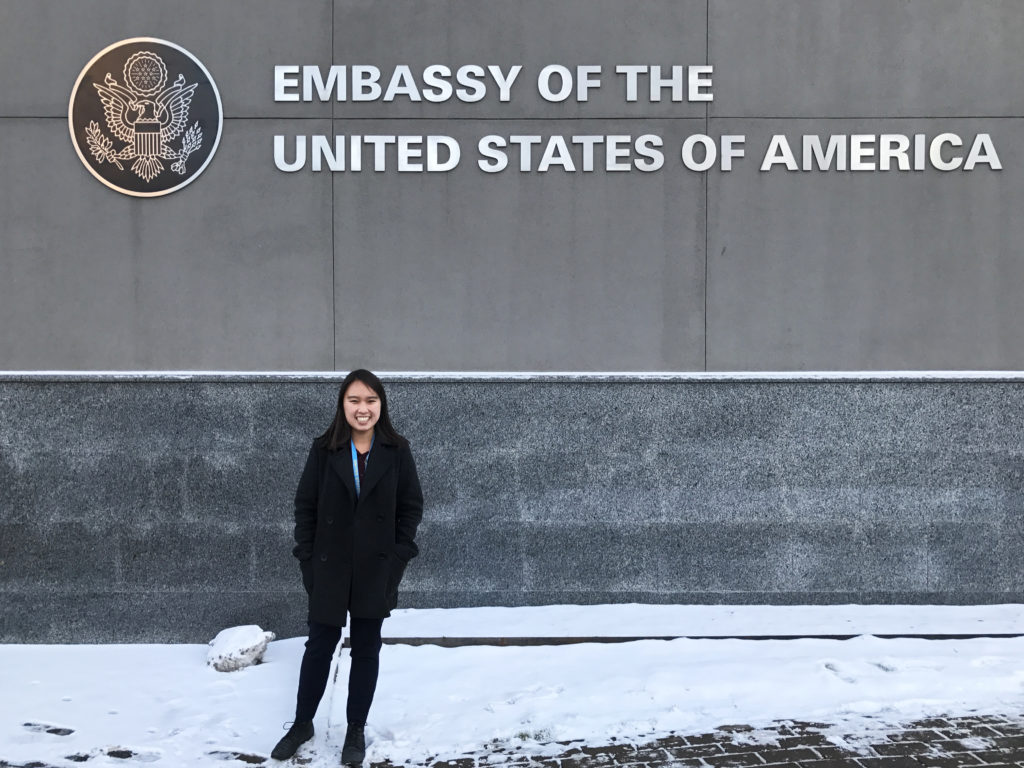 Yee in front of the United States embassy in Kyiv.