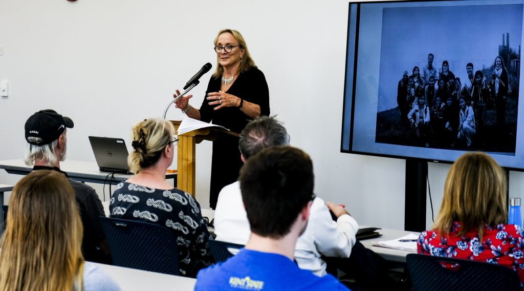 Carol Wilder, a 1974 graduate of Kent State University and dean of the School of Media Studies at The New School, spoke during a ceremony in which she was honored with the 2017 Centennial Award by the faculty in the School of Communications Studies at her alma mater.