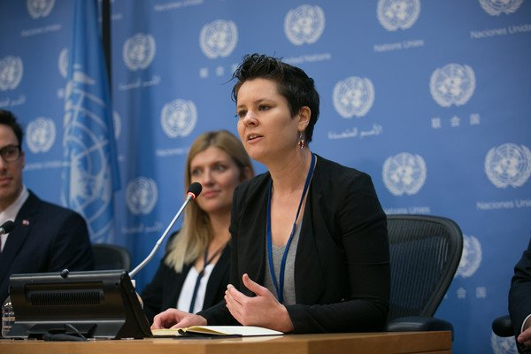 Ray Acheson, MA  Politics '14, at a press conference for the International Campaign to Abolish Nuclear Weapons (ICAN) at the United Nations, after ICAN won the Nobel Peace Prize. (Photo/ Kevin Hagen