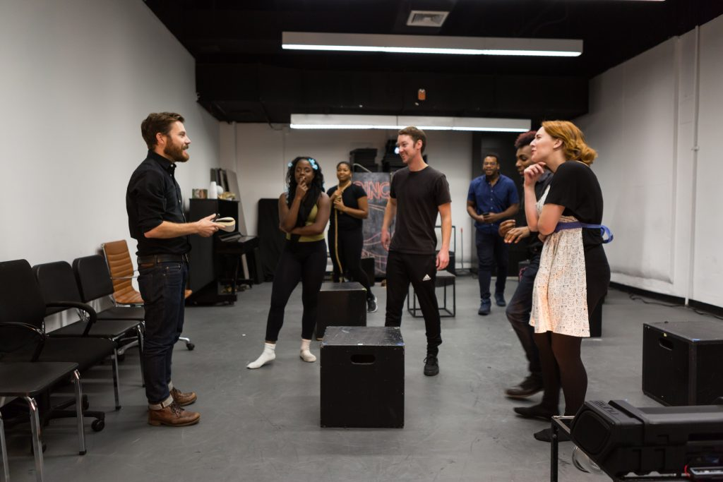 Jimmy Maize works with MFA Drama students as part of Drama's recent partnership with Tectonic Theater Project.