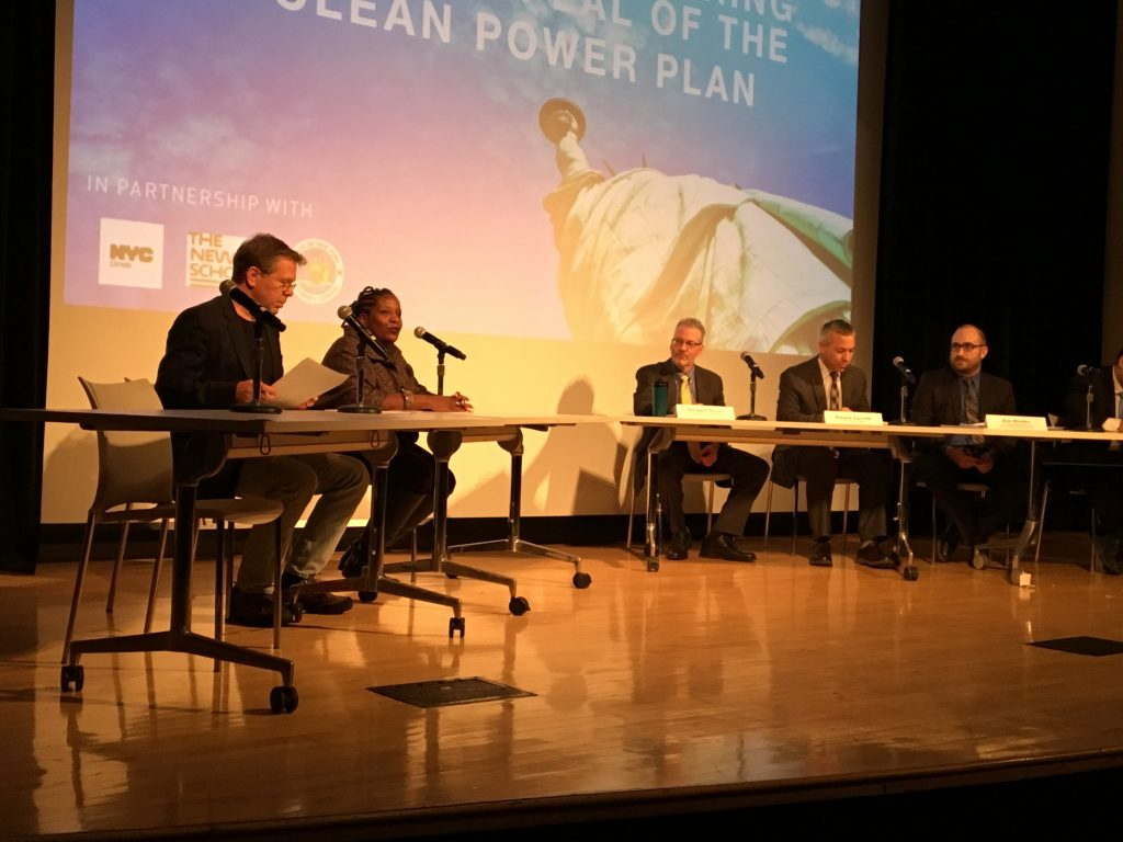 Michelle DePass, Director of the Tishman Environment and Design Center and Dean of the Milano School, and Joel Towers, Executive Dean of Parsons School of Design, testify at the People's Hearing on Repeal of Clean Power Plan co-hosted by New York State Attorney General Eric Schneiderman, the New York City Mayor's office, and The New School.