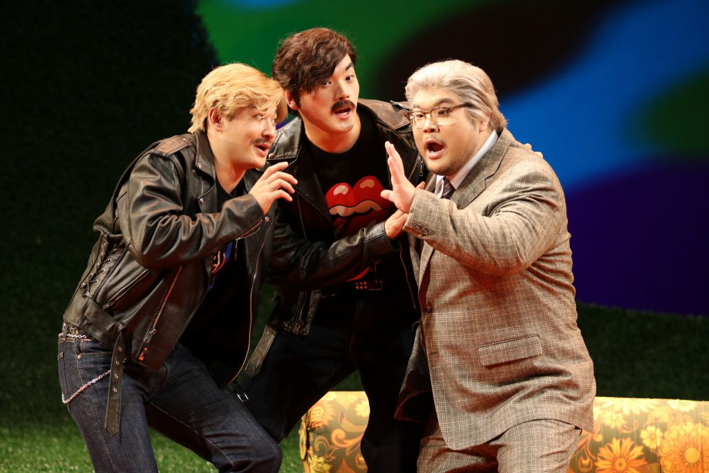 Kidon Choi, far right, in the Mannes Opera's 2016 production of Cosi fan tutte. Photo by Eugenia Ames