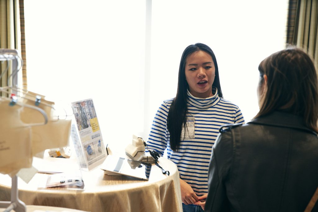 Julia Liao, Product Design '17, presents accessories and a garment she created for Christina Mallon as part of the Open Style Lab at #SXSW. (Photo/Killian Son)