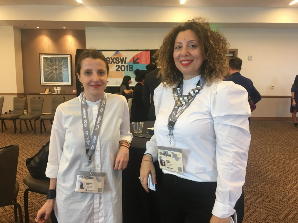 Hala A. Malak, Professor of Strategic Design and Management at Parsons School of Design, and Joelle Firzli, Fashion Studies '16 led the Design for Impact workshop at SXSW.