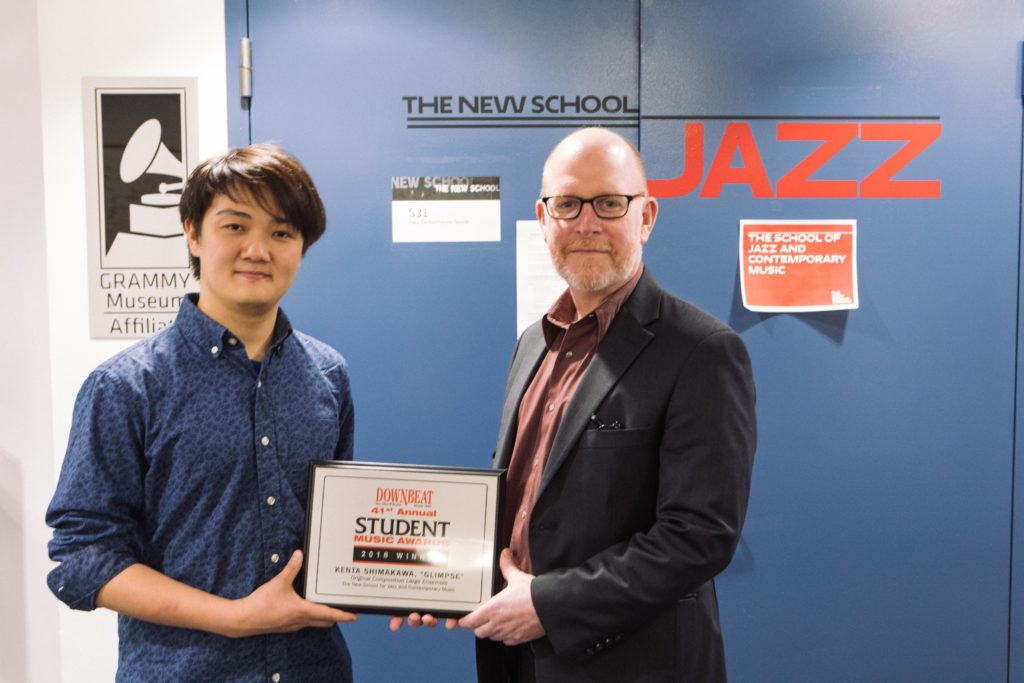 Kenta Shimakawa with Keller Coker, Dean of School of Jazz and Contemporary Music