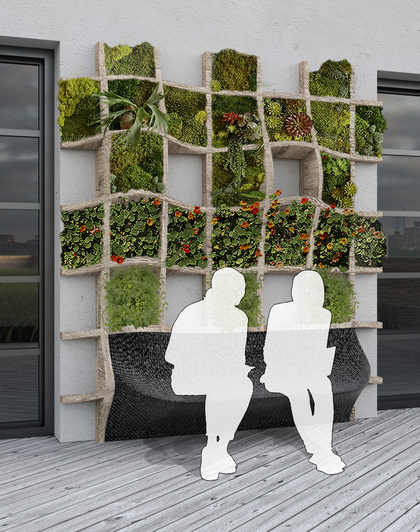 Student green wall design for Vice Media headquarters in Brooklyn