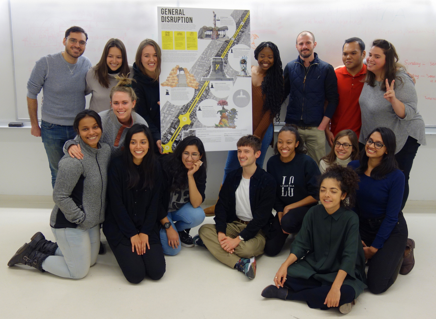 Urban History Lab class displaying the General Disruption poster