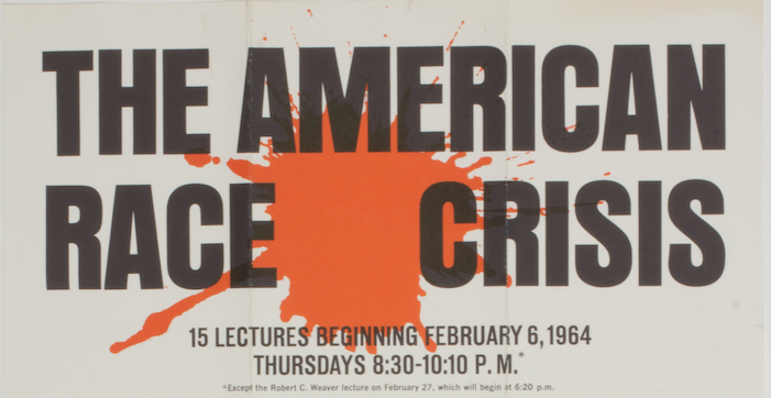In 1964, the America's Race Crisis lecture series brought civil rights leaders like Martin Luther King Jr., Ossie Davis, and Milton Galamison to campus