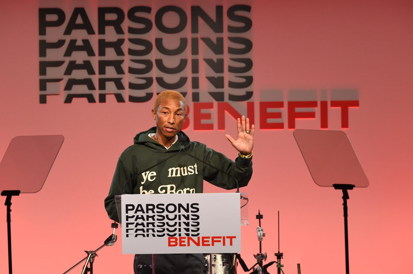 Pharrell accepts his Parsons Table Award during the 2019 Parsons Benefit