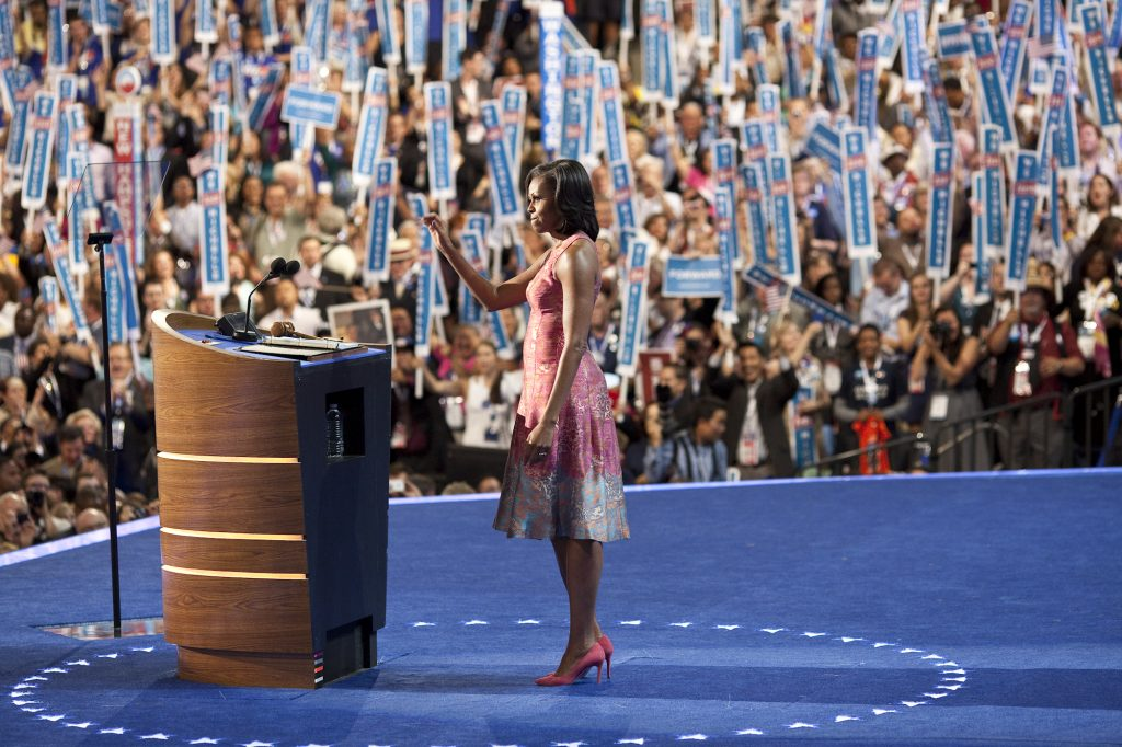 Michelle Obama wears a Tracy Reese dress during the 2012 Democratic National Convention