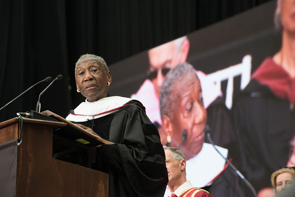 Barbara Hillary, speaking at The New School's 2017 commencement ceremony.