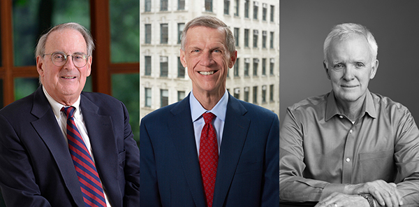Former New School President Jonathan Fanton, Current President David Van Zandt, and former president,  Bob Kerrey.
