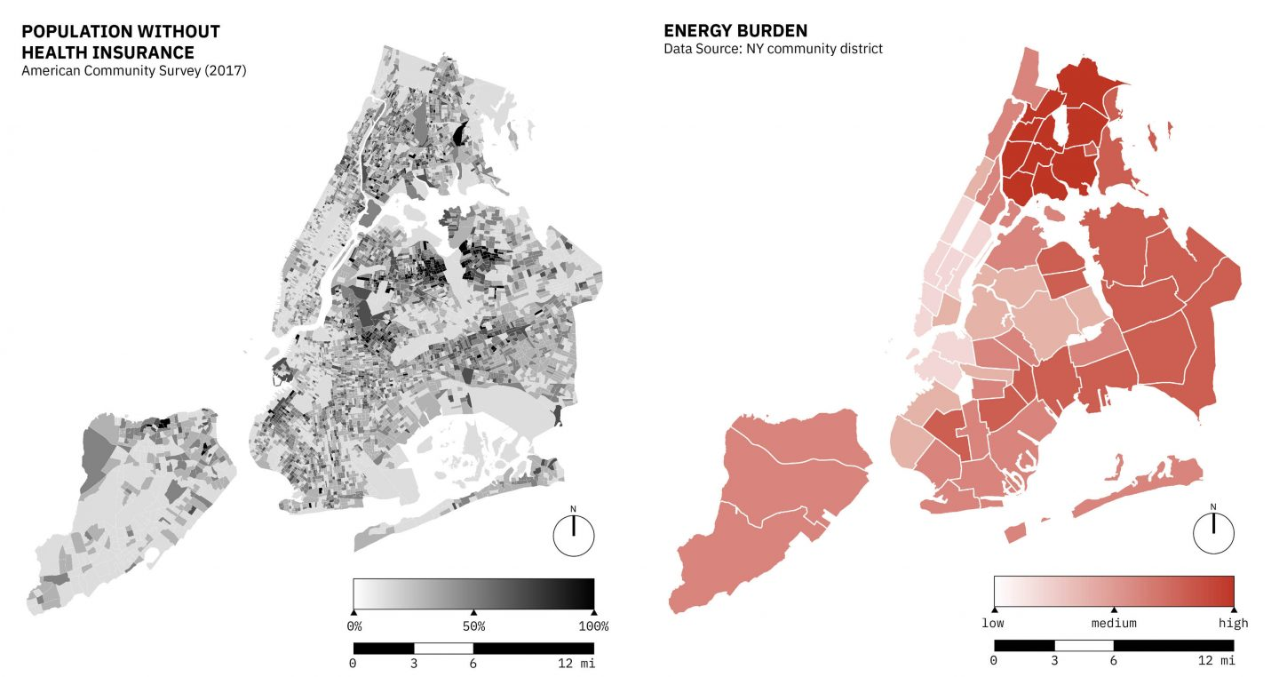 Population in NYC Without Health Insurance. Source: American Community Survey (2017). Right: Energy Burden in NYC. Research shows that heat vulnerability and energy burden will disproportionately impact socially vulnerable communities that do not have consistent access to air conditioning. Maps developed by Pablo Herreros,  Ahmed Mustafa, Timon McPhearson, Luis Ortiz, Claudia Tomateo, and others on the USL Team.