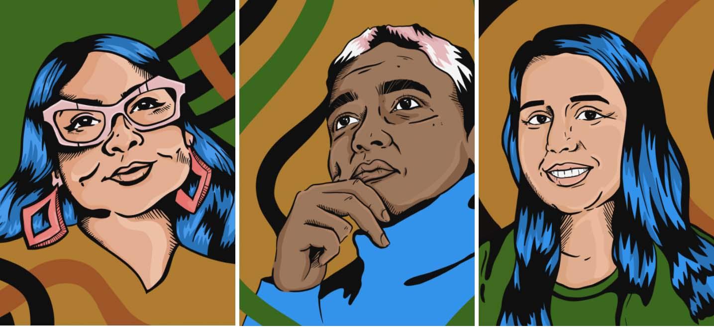 (LtR) Illustrations of Angela Mahecha, Sujatha Jesudason, and Ana Baptista created by Loisse Ledres