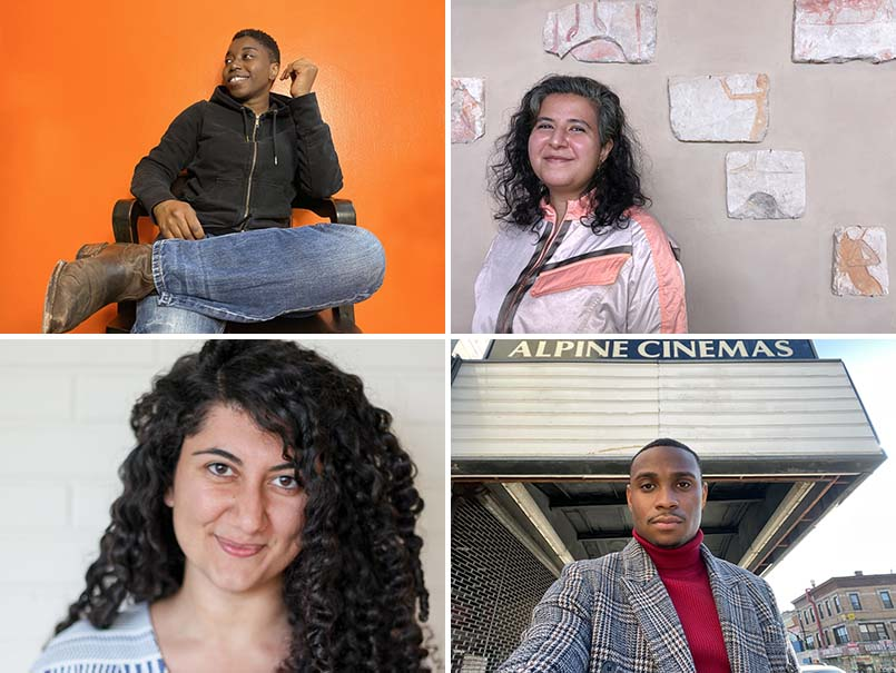Whiting Award recipients, clockwise from top left: Donnetta Lavinia Grays, Marwa Helal, Jordan E. Cooper, Sylvia Khoury