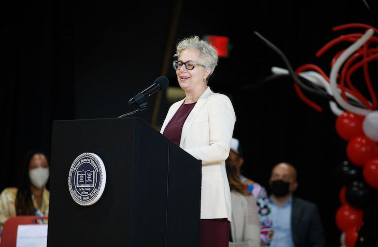 Rachel Schreiber, Executive Dean of Parsons, speaks at the opening of the Newark School of Fashion and Design