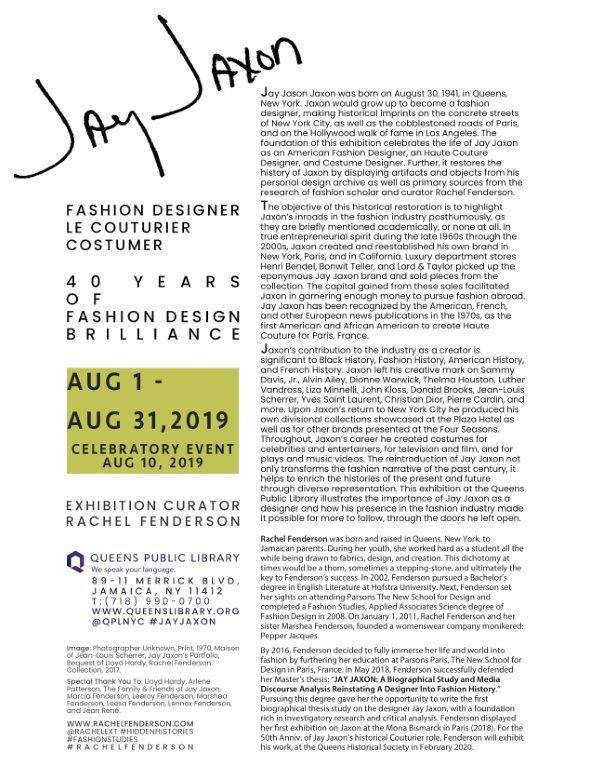 Jay Jaxon Fashion Designer Le Couturier Costumer 40 Years Of Fashion Design Brilliance Parsons Paris