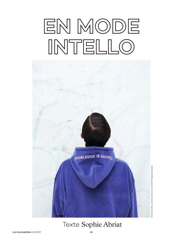 Les Inrockuptibles, 'En Mode Intello' by Sophie Abriat