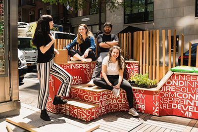 Parsons school of design street seats 2019 returns with its pop-up public seating space giving new yorkers a fresh perspective on the Greenwich village neighborhood